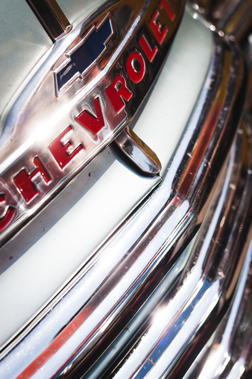 Close up of front grill with Chevrolet logo