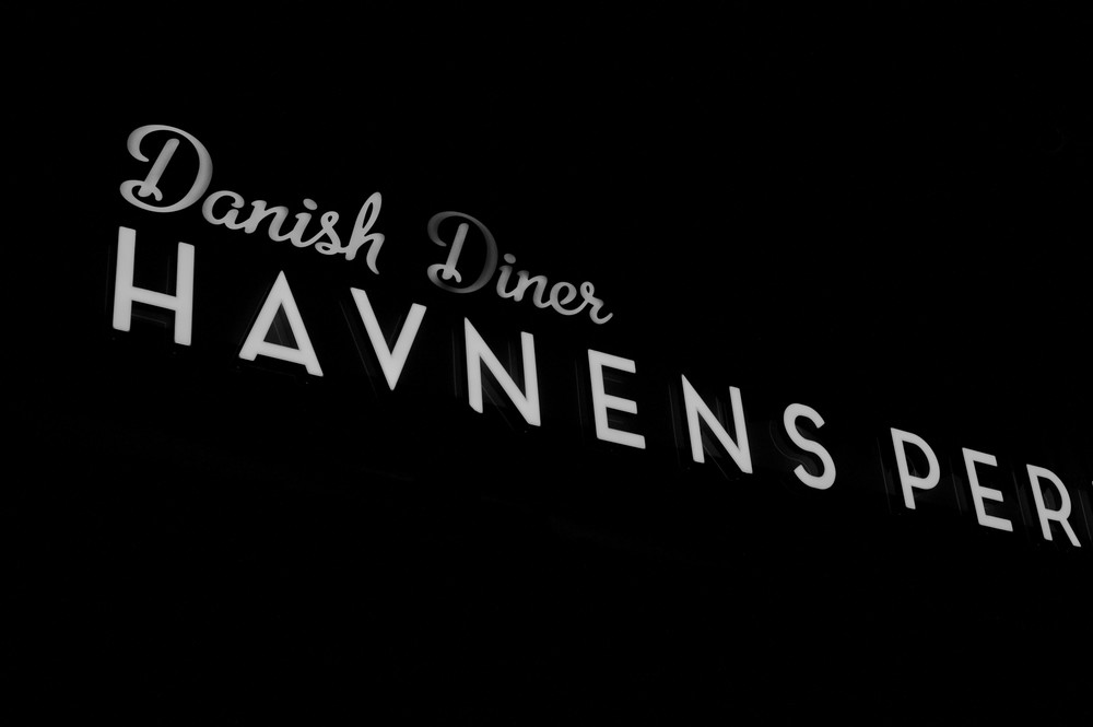 Havnens Perlne restaurant in Aarhus sign on the front of the building